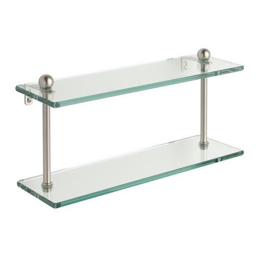 Allied真鍮クリアガラス22インチ2-tierシェルフニッケル仕上げ、ポリッシュ   B001O88G6W