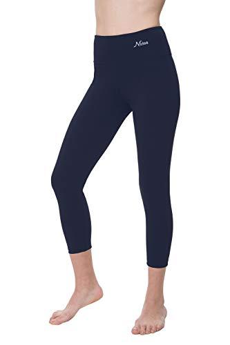 NIRLON Capri Leggings for Women 7/8 Length High Waist Workout Capri's Yoga Pants Regular & Plus Size Cotton Spandex (M, Navy Blue 22