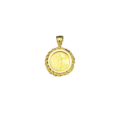 22K Fine Gold 1/10 Oz Lady Liberty Coin Set With -14K Rope Frame Pendant (5619(Random Year) ()