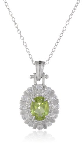 Sterling Silver Peridot and Created White Sapphire Oval Pendant Necklace, (Oval Sapphire Twist)