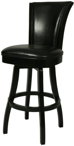 Impacterra Glenwood Swivel Stool, Feher Black, Counter Height