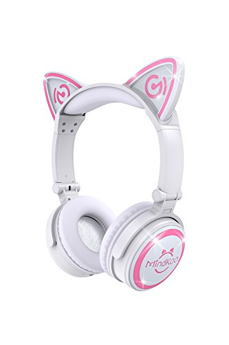 MindKoo Unicat MH-6 Kids Headphones,Cat Ear Bluetooth V4.2 Headsets On-Ear Earphones wtih Mic,(Patented Exclusive Design) with LED Flashing Glowing Cosplay Fancy Foldable Gaming Headsets – White
