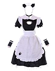 MN-171 Cat Maid dienstmeisje Zofe zwarte jurk schort 7-delig dames kostuum cosplay