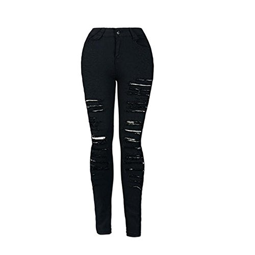 Pantalones Rasgados Negro LHWY,Pantalones Vaqueros Ajustados Skinny LáPiz Jeans De Cintura Alta Sexy