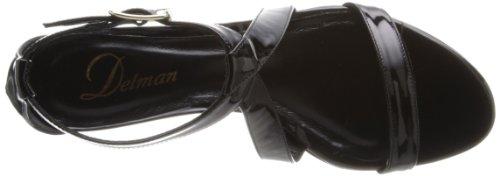 Delman Women's Wedge Caryn Patent Black Sandal 4rg4qnWw