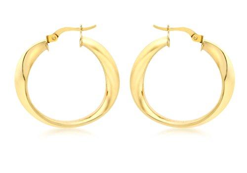 9ct or jaune Boucles d'oreilles créoles 24mm Wave