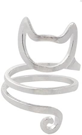 Women's Cute Cat Tail Wrap Ring Silver Plated Brass Hollow Finger Ring 1 Pc Gift