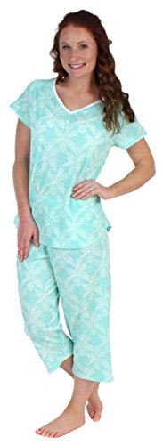 Sleepwear Cotton Short Sleeve V-Neck Top and Capri Pajama Set (SHCJ1730-4074-MED) (Cotton Capri Set)
