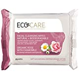 Eco Care Organic Facial Cleansing Wipes, Rose/ Chamomile