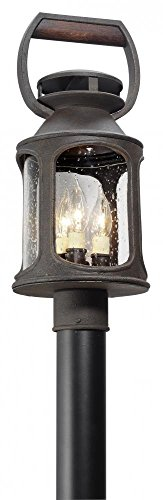 Aluminum Rust Outdoor Post Mount - Troy Lighting Old Trail 3-Light Outdoor Post Mount - Centennial Rust Finish with Clear Seedy Glass Shade