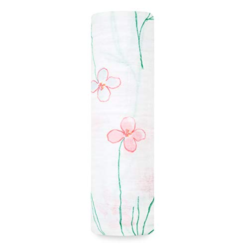 aden + anais Classic Swaddle Baby Blanket, 100% Cotton Muslin, Large 47 X 47 inch, Single, Forest Fantasy - Flowers