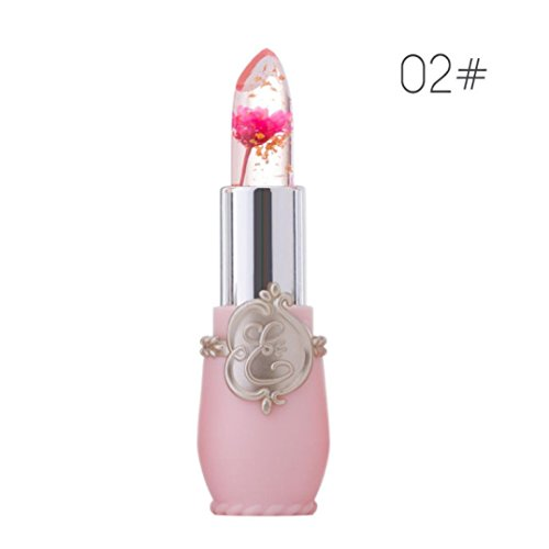 Start Official Waterproof Flower Jelly Moisturizer Temperature Color Change Lipstick Gold foil Lip gloss (PINK #2) - Foil Pink Flower