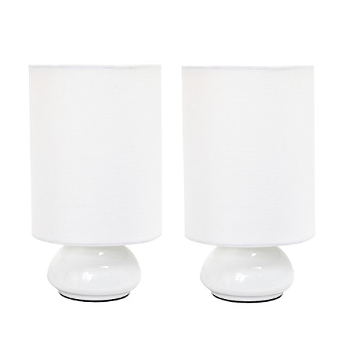 LT2043-WHT-2PK Simple Designs Gemini Colors 2 Pack Mini Touch Table Lamp Set with Fabric Shades, White Gemini Colors 2 Pack Mini Touch Table Lamp Set with Fabric Shades, WhiteWhite (1 Light Mini Table Lamp)