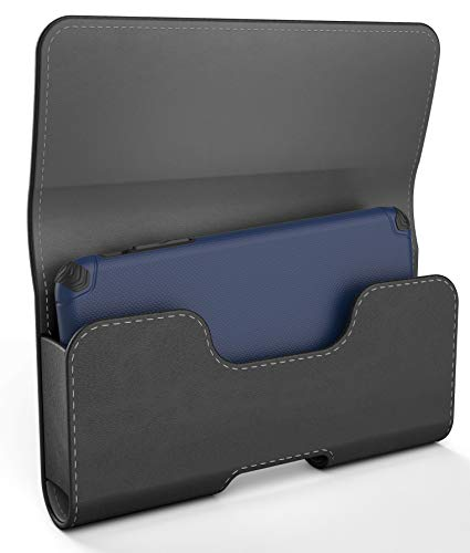 Encased iPhone XR Belt Pouch Case Holder (2018) - Secure Fit Holster Clip with Magnetic Closure and PU Leather Belt Loops (Designed to fit All Standard Size Cases)
