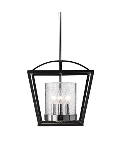 Light Chrome Ceiling Black (Golden Lighting Mercer 4309-SF BLK-SD Semi Flush Mount Light)