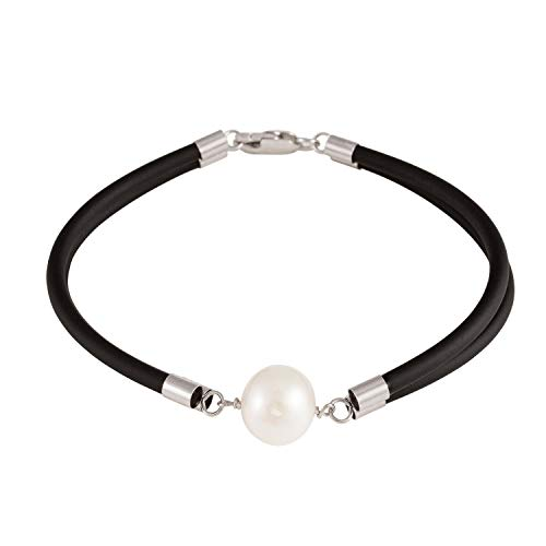 Handpicked AA Quality 10-11mm Round White Freshwater Cultured Pearl in Double Row Rubber Bracelet 925 Silver Clasp