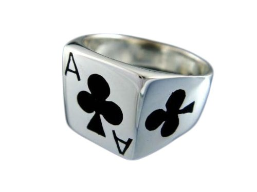 Amazon.com: Plata de ley 925 anillo de Ace Of Clubs de Juego ...