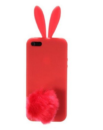 Bunny Skin Case - Newstore Cute Lovely Red Bunny Rabbit Silicone Soft Case Cover Skin for Apple iPhone 5/5S with Furry Tail