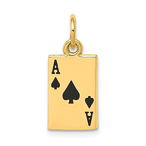 Charm Necklace Spade - 14k Yellow Gold Enameled Ace Of Spades Card Pendant Charm Necklace Gambling Fine Jewelry Gifts For Women For Her