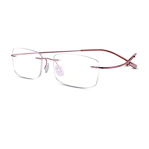 Bertha Titanium Alloy Flexible Lightweight Rimless Frame Prescription Eyeglasses 105 (Pink)