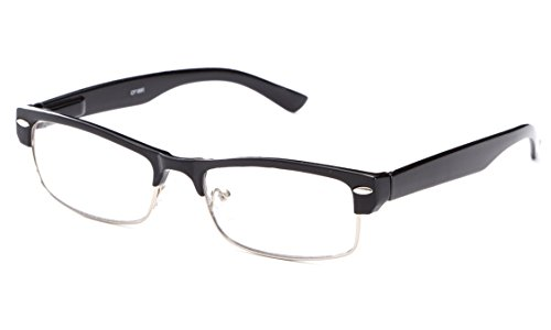 IG Unisex Half Frame Stylish Designer Inspired High Fashion Spring Temple Clear Lens Glasses in - Half Ray Bans Frame