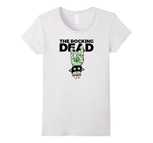 Womens Rocking Dead Zombie T-Shirt Rock Horns Salute Large White (Zombie Women)