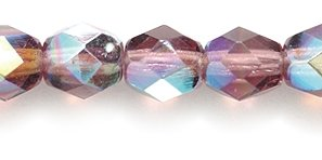 Preciosa Czech Fire 6 mm Faceted Round Polished Glass Bead, Amethyst Aurora Borealis, 150-Pack