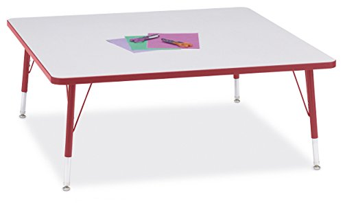 Berries 6418JCT008 Square Activity Table, T-Height, 48'' x 48'', Gray/Red/Red by Berries