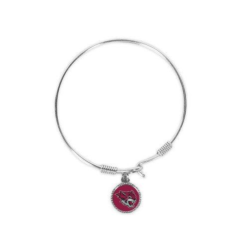 Chico State Silver Bangle Bracelet With Round Pendant 'Wildcat - Wildcat Head Bracelet