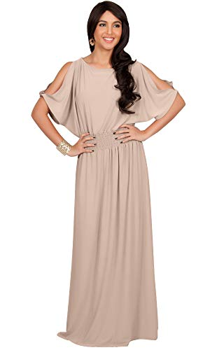 KOH KOH Womens Long Flowy Short Sleeve Sexy Casual Summer Modest Gown Maxi Dress, Nude Champagne Brown M 8-10