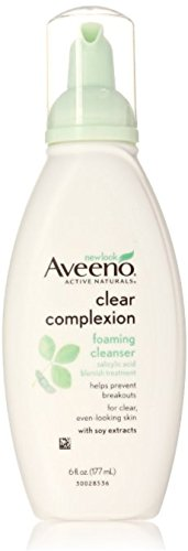 Aveeno Clear Complexion Foaming Oil-Free Facial Cleanser with Salicylic Acid for Breakout Prone Skin, Face Wash with Soy Extracts, Hypoallergenic and Non-Comedogenic, 6 fl. oz (Pack of 2)