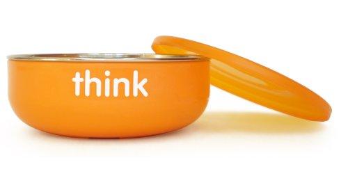 Thinkbaby Low Rise BPA Free Baby Bowl, Silver/Orange