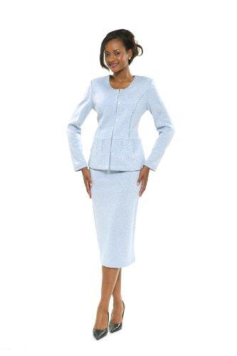 Divas Couture Women s Business Skirt Suit 1496 16 Baby Blue  Amazon ... 12a68b00e