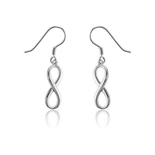 Sterling Silver Infinity Figure 8 High-Polish, Solid Dangling Earrings by Beaux Bijoux