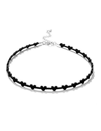 Black Choker Necklace Heart Choker Necklace Black Velvet Choker Necklace for Women Girls Gothic Mother Girlfriend Wife Grandma Daughter Fashion Jewelry Love Heart