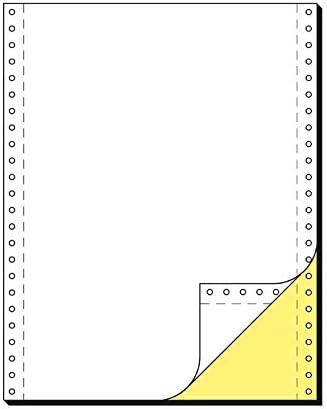 SCHÄFER SHOP Computer Endlospapier DIN A4, 2-fach blanko, gelbe Kopie, selbstdurchschreibend, Längsperforation, beidseitiger Führungslochrand, 1000 Blatt