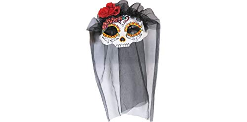 (Veiled Catrina Masquerade Mask Halloween Costume Accessory, One Size, 8