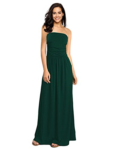 GloryStar Women Strapless Maxi Boho Vintage Summer Beach Floral Print Hawaiian Party Long Dress (M, Dark Green-2)