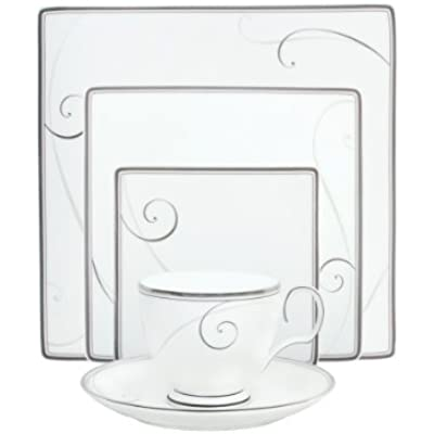 Click for Noritake Platinum Wave Square Place Setting, 5-Piece, White