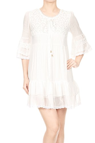 White Anna Floral Boho Hem Ruffle Womens Mini Lace Dress Kaci Bell Sleeve Peasant ASAHgn7q