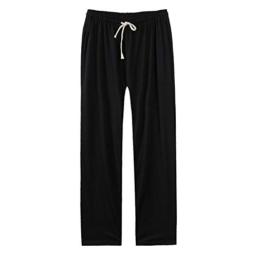 (Faddish Summer Casual Men Men's All-Match Sweatpants Loose Solid Soft Casual Elastic Mid Waist Plus Size Trousers Male,Black,XXXL)