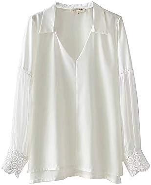 Cnsdy Camisas de Mujer Crochet Design Lapel Camisa de lencería Camisa de Manga Larga Top: Amazon.es: Deportes y aire libre