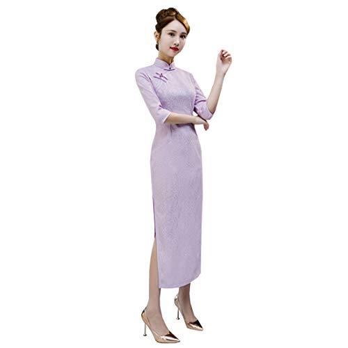 Chinese Style Shanghai Long Sleeve Vintage Elegant Classic lace Velvet Long Cheongsam Qipao Story (X-Large,Lavender)