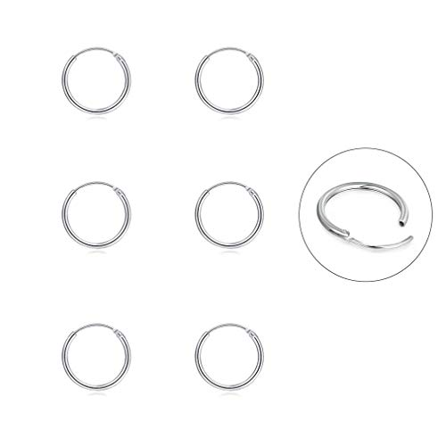 Silver Hoop Earrings- Cartilage Earring Endless Small Hoop Earrings Set for Women Men Girls,3 Pairs of Hypoallergenic 925 Sterling Silver Tragus Earrings Nose Lip Rings (8mmx3 Pairs)