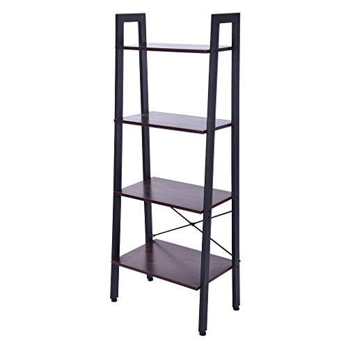 Industrial Ladder Shelf, 4-Tier Bookshelf, Storage Rack Shelves, Bathroom, Living Room, Organizer Modern Wood Look…