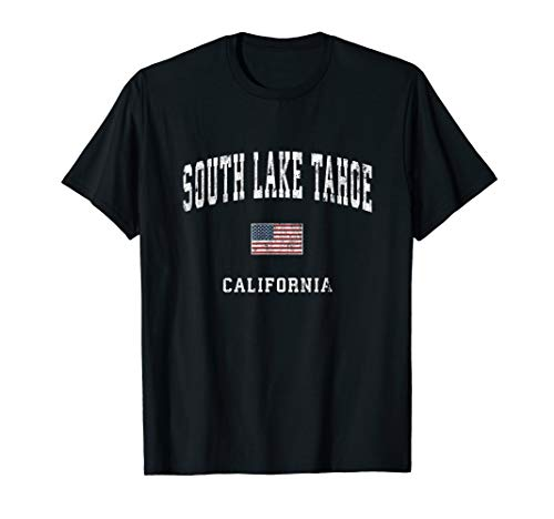 - South Lake Tahoe California CA Vintage American Flag Sports T-Shirt