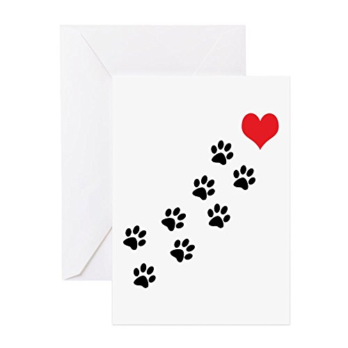 - CafePress Paw Prints To My Heart Greeting Card (20-pack), Note Card with Blank Inside, Birthday Card Matte