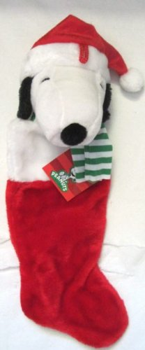 peanuts snoopy 20 plush christmas stocking with snoopy santa head