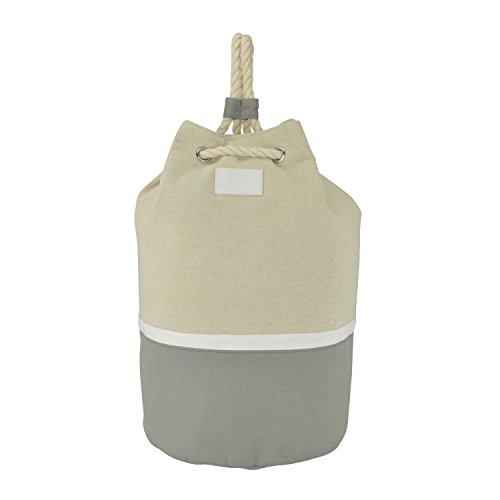 DALIX Large Rope Drawstring Backpack Carry Bag in Light Grey White and Natural (Closure Rope Drawstring)