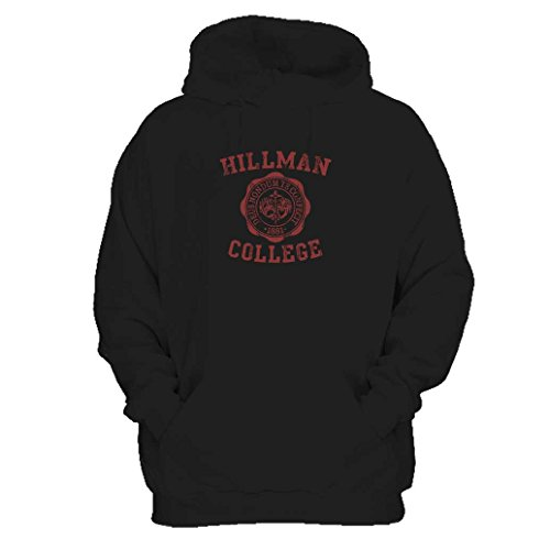 [Hillman College Seal Maroon Retro 80s School Costume Pride Uniform Hoodie X-Large Black] (80s Costumes For Family)